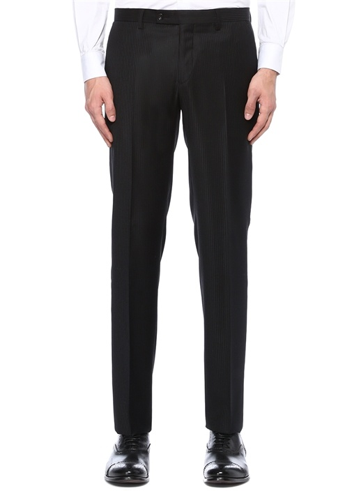 Drop 7li Notch Lapel Siyah Çizgili Takım Elbise