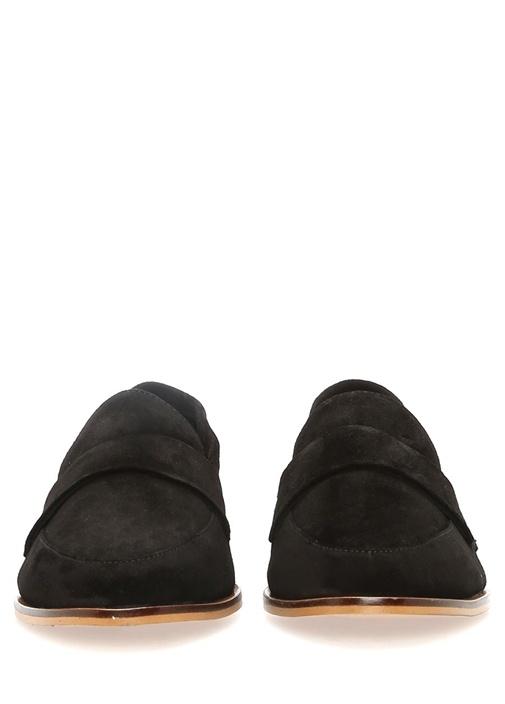 Siyah Deri Kadın Loafer