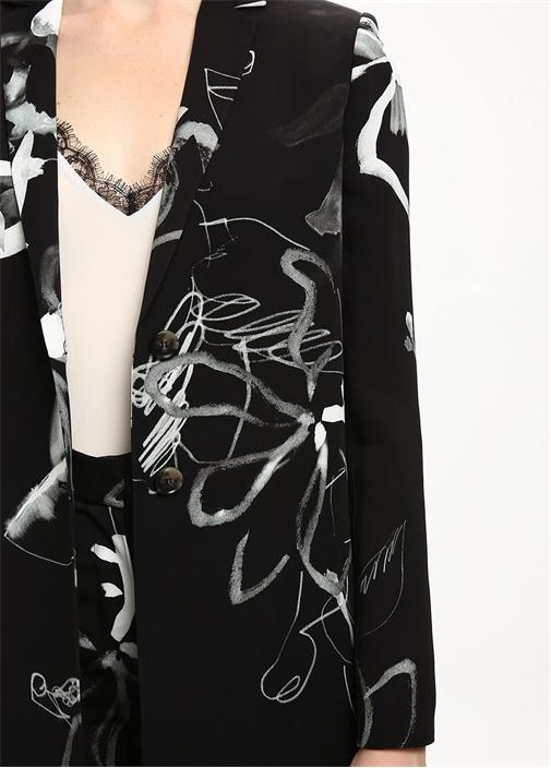 Siyah Gül Desenli Uzun Krep Ceket