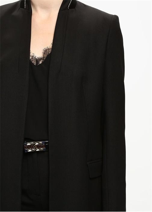 Siyah Boncuk Biye Yün Gabardin Ceket
