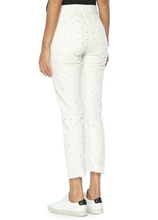 Yüksek Bel Zımbalı Beyaz Jean Pantolon