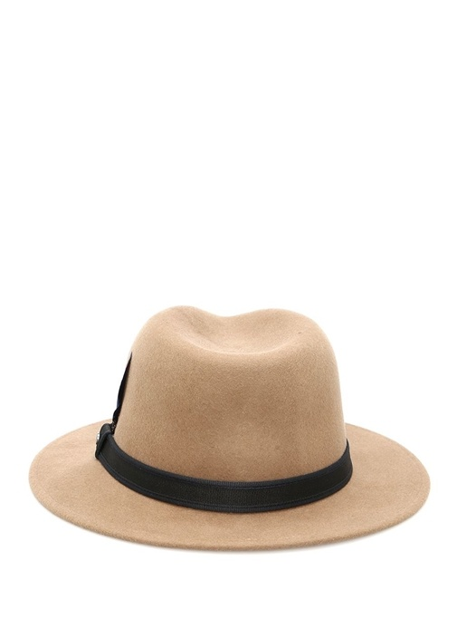 Bej Bantlı Erkek Yün Şapka