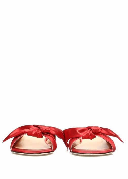 Kırmızı Fiyonk Detaylı Kadın Saten Terlik