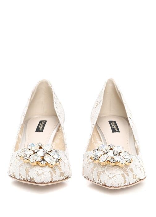 The Rainbow Lace Beyaz Taşlı Topuklu Ayakkabı