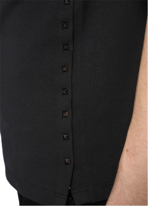 Siyah Polo Yaka Düğme Kapatmalı Troklu T-shirt