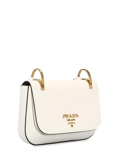 Beyaz Renkli Omuz Askılı Deri Çanta