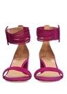 Mor Çoklu İp Bantlı Kadın Süet Sandalet