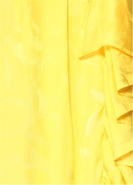 Sarı Çiçek Jakarlı Volanlı Maksi Saten Etek
