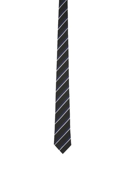 Siyah Lacivert Verev Çizgili İpek Kravat