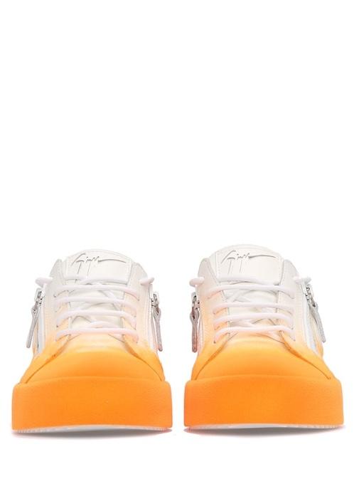 May London Turuncu-Beyaz Deri Kadın Sneaker