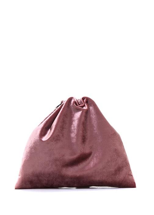 Pembe Nakışlı Kadın Kadife Kese Çanta