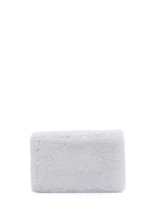 Beyaz Yünlü Kadın Deri Çanta