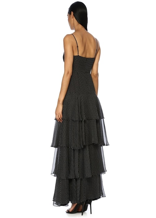 Siyah Puantiyeli Önü Düğümlü Maksi Şifon Elbise