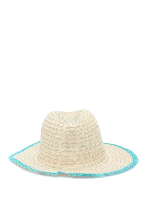Bej Mavi Püskül Detaylı Kadın Şapka