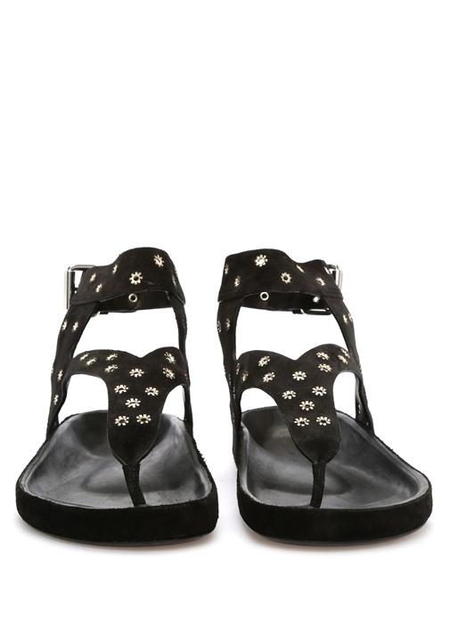 Siyah Çiçek Troklu Kadın Deri Sandalet