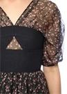 Bella Siyah Çiçekli Korseli Midi Şifon Elbise