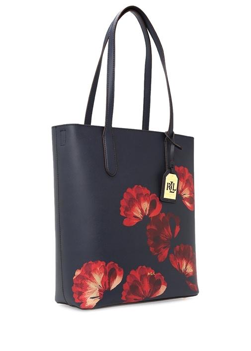 Lacivert Çiçek Desenli El Çantası