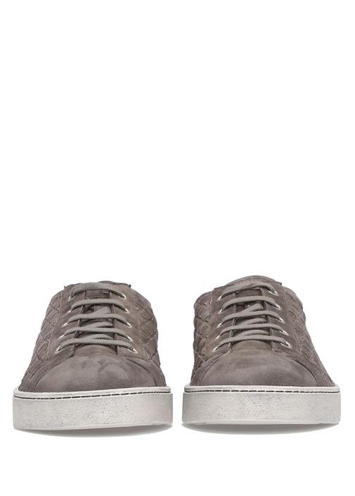 Antrasit Örgü Dokulu Logolu Erkek Süet Sneaker