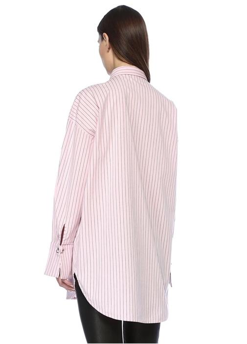 Amati Pembe Çizgili Asimetrik Detaylı Gömlek