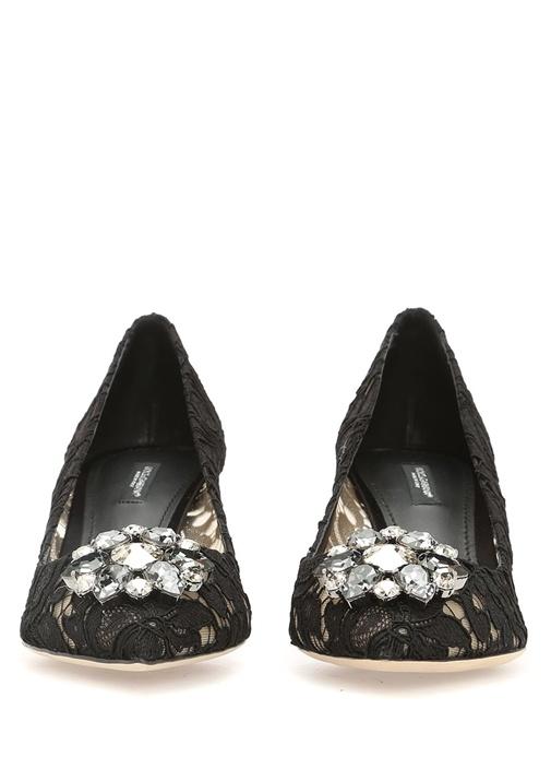 The Rainbow Lace Siyah Taşlı Topuklu Ayakkabı