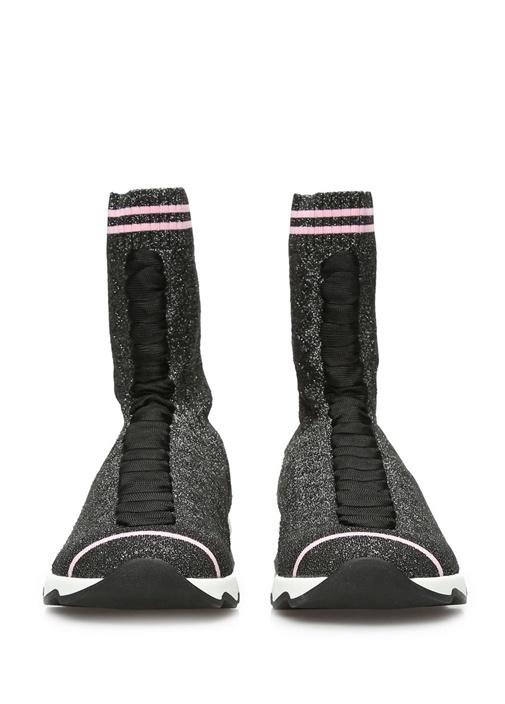 Ribbed Hi-Top Siyah Kadın Sneaker