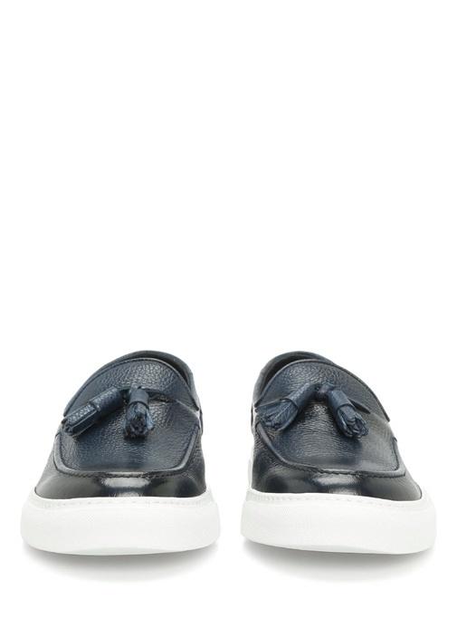 Paul Lacivert Deri Erkek Sneaker