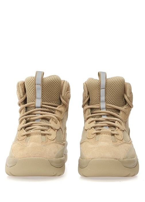 Bej Bağcıklı File Dokulu Erkek Sneaker