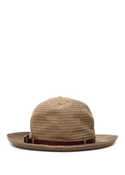 Kahverengi Deri Kemerli Erkek Hasır Şapka
