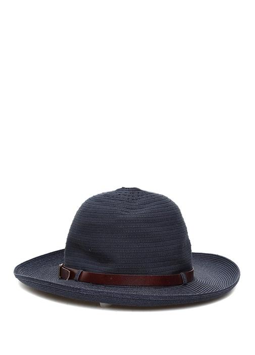 Lacivert Deri Kemerli Erkek Hasır Şapka