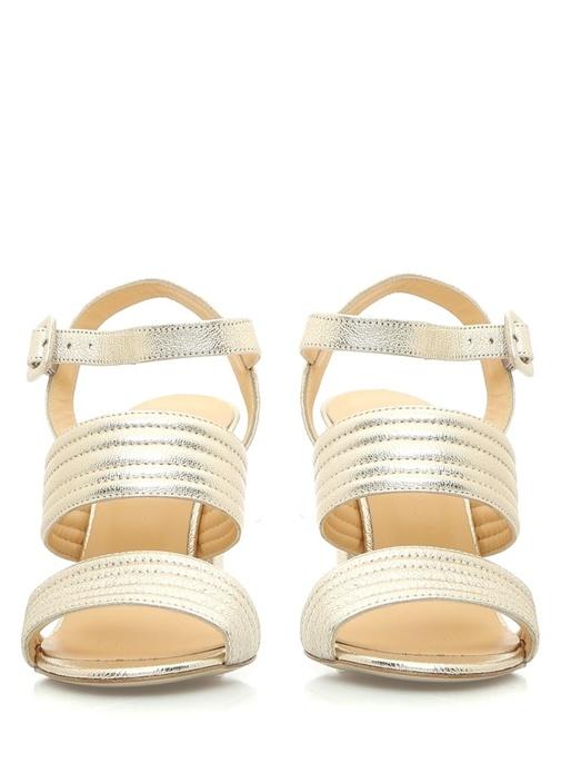 Altın Rengi Deri Sandalet