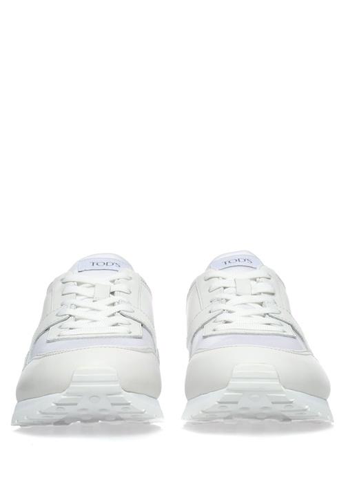 Zımbalı Beyaz Deri Erkek Sneaker