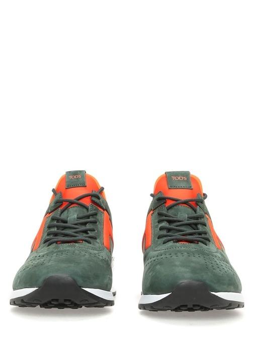 Beyaz Tabanlı Turuncu Yeşil Deri Erkek Sneaker