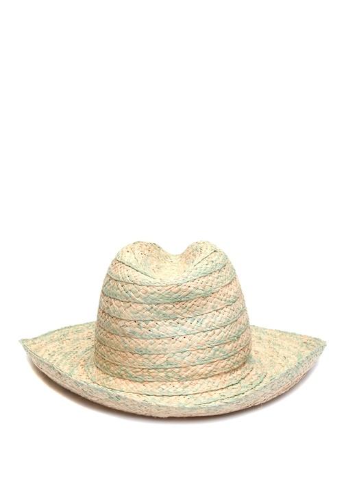 Bej Mavi Ponponlu Kadın Şapka