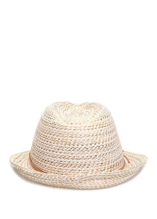 Bej Örgü Dokulu Fiyonklu Kadın Şapka