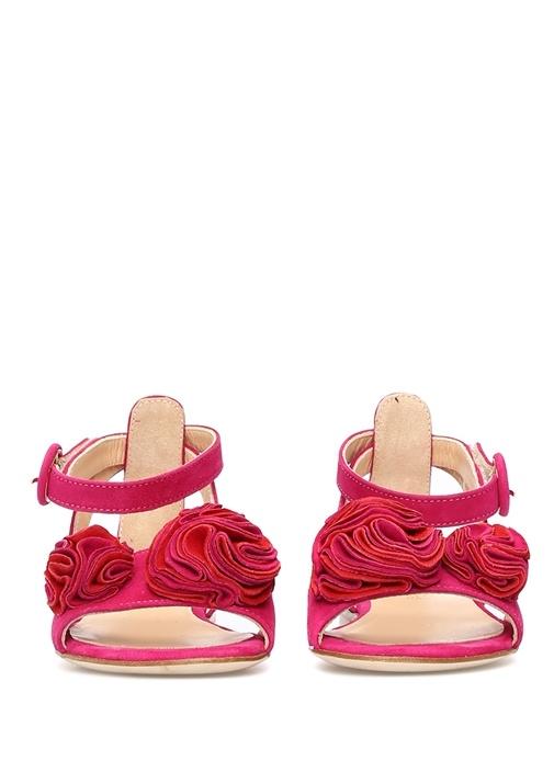 Pembe Gül Detaylı Kız Çocuk Süet Sandalet
