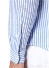 Mavi Beyaz Çizgili Logo Nakışlı Keten Gömlek