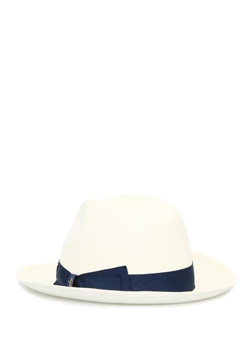 Beyaz Lacivert Bantlı Hasır Erkek Şapka