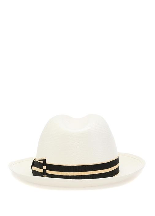 Beyaz Çizgi Bantlı Hasır Kadın Şapka