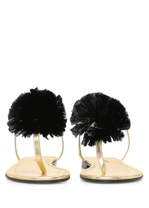 Antibes Siyah Çiçek Detaylı Kadın Sandalet