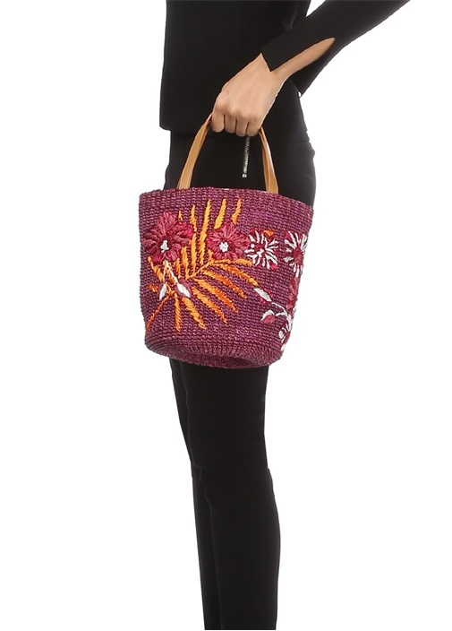 Caba Mor Çiçek İşlemeli Kadın Hasır Çanta