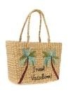 Palmiye Nakışlı Small Kadın Hasır Çanta