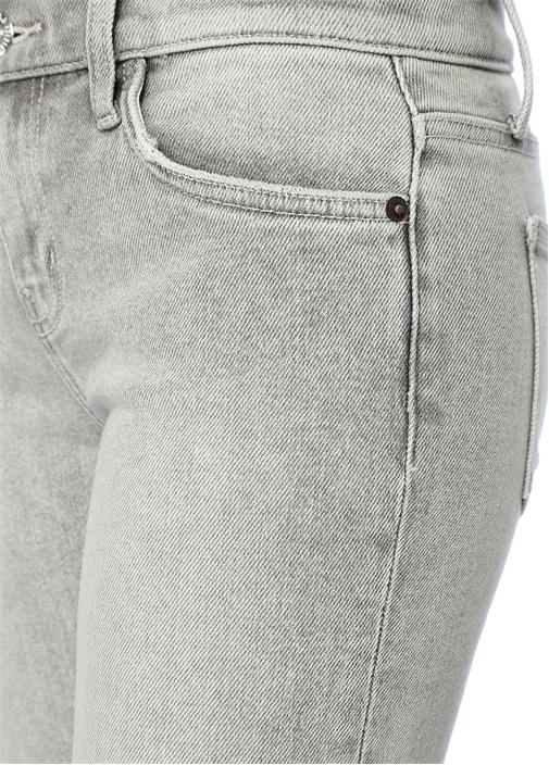 The Kick Gri Yıpratmalı Crop Jean Pantolon