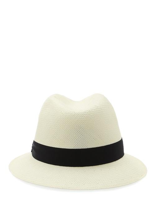 Ekru Lacivert Şeritli Erkek Hasır Şapka