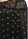 Siyah Puantiyeli Fırfırlı Mini Şifon Elbise