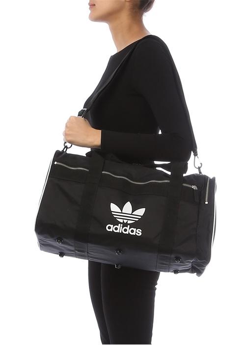 DUFFLE L AC Siyah Logolu Kadın Çanta