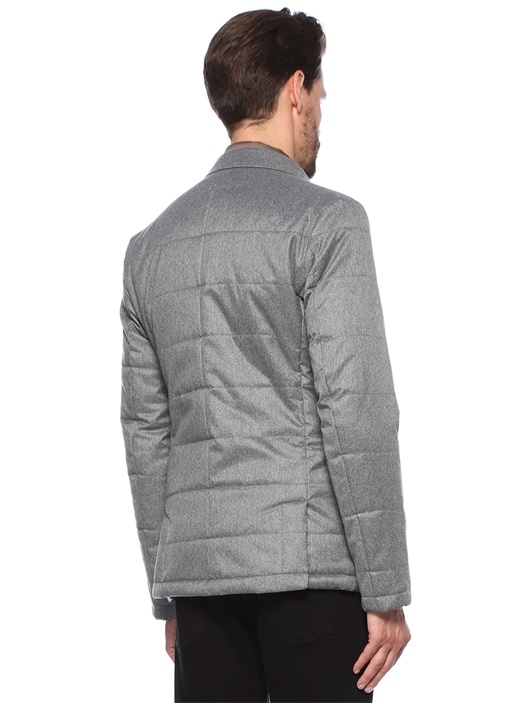 Gri Melanj Yaka Detaylı Ceket