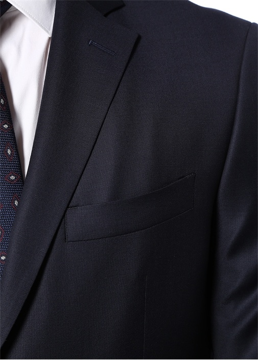 Drop 7 Lacivert Dokulu Yün Takım Elbise