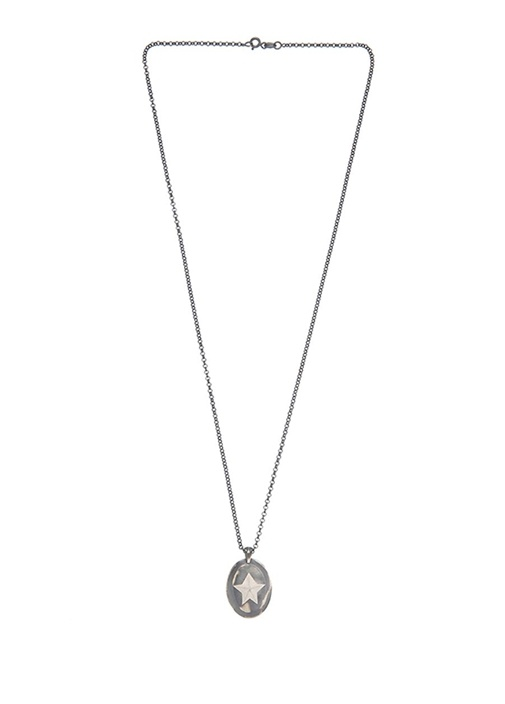 Oval Formlu Yıldız Detaylı Kadın Gümüş Kolye