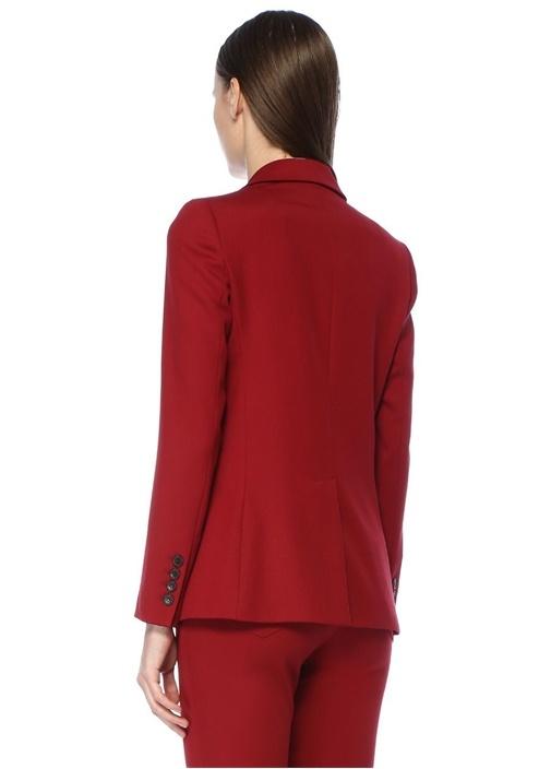 Kırmızı Kırlangıç Yaka Tek Düğmeli Yün Ceket