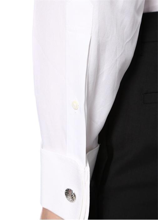 Beyaz Garni Detaylı İngiliz Yaka Gömlek